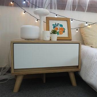 ตู้ข้างเตียง รุ่น Sideki สีขาว-ลินเบิร์ก