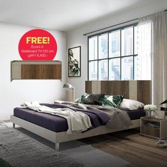 เตียงนอน ขนาด 6 ฟุต รุ่น Estano สีเข้มลายไม้ธรรมชาติ01