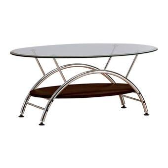 โต๊ะกลาง โต๊ะกลางเหล็กท๊อปกระจก รุ่น Haben สีสีเงิน-SB Design Square