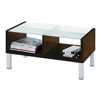 โต๊ะกลาง โต๊ะกลางไม้ท๊อปกระจก รุ่น Swiss สีสีเข้มลายไม้ธรรมชาติ-SB Design Square