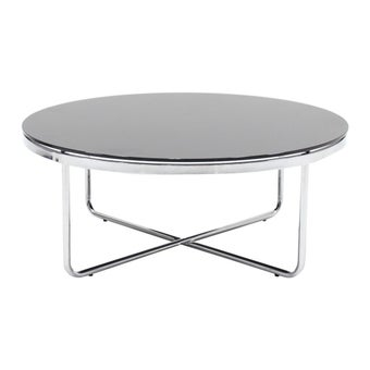 โต๊ะกลาง โต๊ะกลางเหล็กท๊อปกระจก รุ่น Laccate สีสีเงิน-SB Design Square