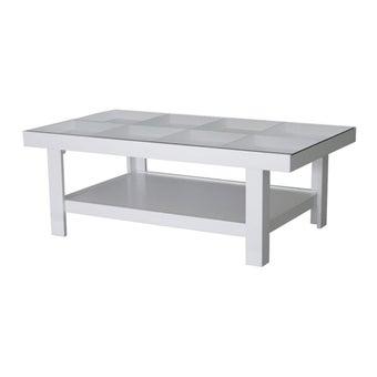 โต๊ะกลาง โต๊ะกลางไม้ท๊อปกระจก รุ่น Adorn สีสีขาว-SB Design Square