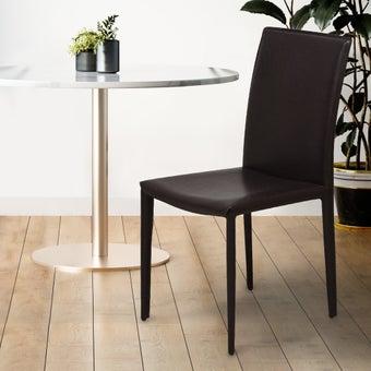 เก้าอี้ทานอาหาร เก้าอี้เหล็กเบาะหนัง รุ่น Yazidสีน้ำตาล-SB Design Square
