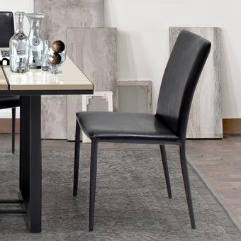 เก้าอี้ทานอาหาร เก้าอี้เหล็กเบาะหนัง รุ่น Aladinสีดำ-SB Design Square