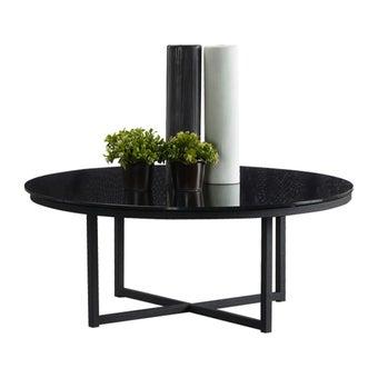 โต๊ะกลาง โต๊ะกลางเหล็กท๊อปกระจก รุ่น Jera สีสีดำ-SB Design Square