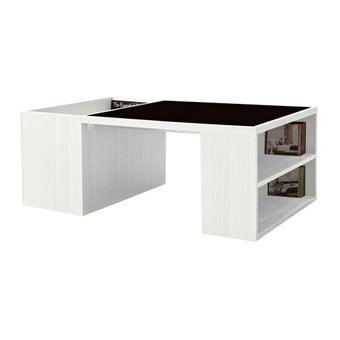 โต๊ะกลาง โต๊ะกลางไม้ท๊อปกระจก รุ่น Montina สีสีขาว-SB Design Square