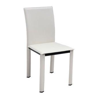 เก้าอี้ทานอาหาร เก้าอี้เหล็กเบาะหนัง รุ่น Asina สีสีขาว-SB Design Square