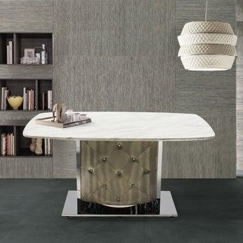 โต๊ะทานอาหาร โต๊ะอาหารขาเหล็กท๊อปหิน รุ่น Aimon สีสีครีม-SB Design Square