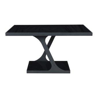 โต๊ะทานอาหาร โต๊ะอาหารขาเหล็กท๊อปกระจก รุ่น Aso สีสีดำ-SB Design Square