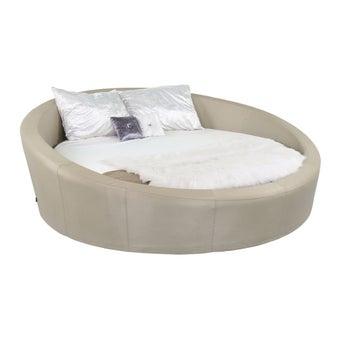 เตียงนอน ขนาด 7 ฟุต รุ่น Silvia สีเงินมุก