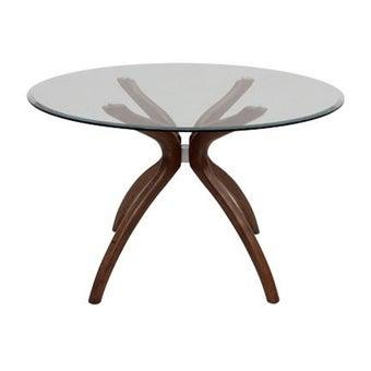โต๊ะทานอาหาร โต๊ะอาหารขาไม้ท๊อปกระจก รุ่น Steven-SB Design Square