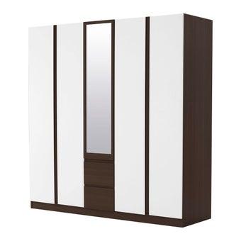 ชุดห้องนอน ตู้เสื้อผ้าบานเปิด รุ่น Patinal สีสีเข้มลายไม้ธรรมชาติ-SB Design Square