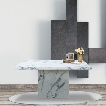 โต๊ะทานอาหาร โต๊ะอาหารหินล้วน รุ่น Flattinum สีสีครีม-SB Design Square