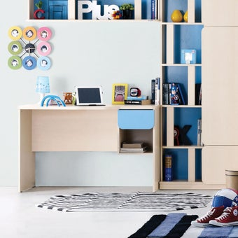 ชุดห้องนอนเด็ก โต๊ะทำงาน รุ่น Bieber สีสีลายไม้ธรรมชาติ-SB Design Square