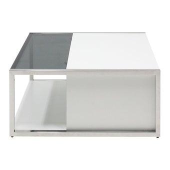 โต๊ะกลาง โต๊ะกลางเหล็กท๊อปกระจก รุ่น Ostia สีสีเงิน-SB Design Square