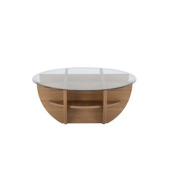 โต๊ะกลาง โต๊ะกลางไม้ท๊อปกระจก รุ่น Waffle สีสีลายไม้ธรรมชาติ-SB Design Square