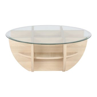 โต๊ะกลาง โต๊ะกลางไม้ท๊อปกระจก รุ่น Waffle สีสีโอ๊คอ่อน-SB Design Square