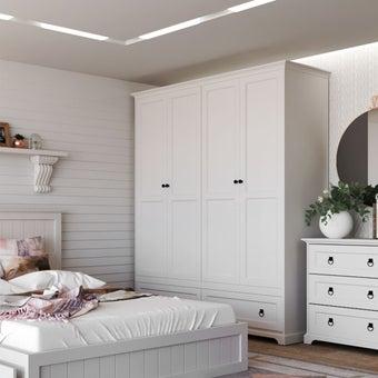 ชุดห้องนอน ตู้เสื้อผ้าบานเปิด รุ่น Melona สีสีขาว-SB Design Square
