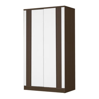 ชุดห้องนอน ตู้เสื้อผ้าบานเลื่อน รุ่น Patinal สีสีเข้มลายไม้ธรรมชาติ-SB Design Square