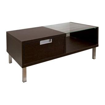 โต๊ะกลาง โต๊ะกลางไม้ท๊อปกระจก รุ่น Wish สีสีเข้มลายไม้ธรรมชาติ-SB Design Square