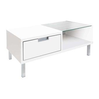 โต๊ะกลาง โต๊ะกลางไม้ท๊อปกระจก รุ่น Wish สีสีขาว-SB Design Square