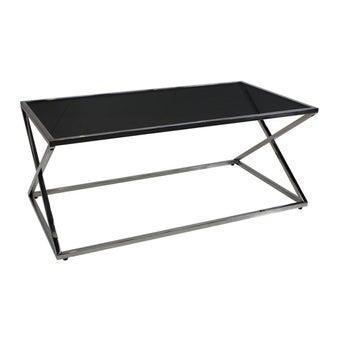โต๊ะกลาง โต๊ะกลางเหล็กท๊อปกระจก รุ่น Drago สีสีเงิน-SB Design Square