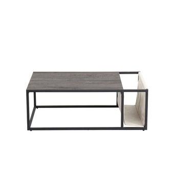 โต๊ะกลาง โต๊ะกลางเหล็กท๊อปไม้ รุ่น Tasman สีสีเข้มลายไม้ธรรมชาติ-SB Design Square