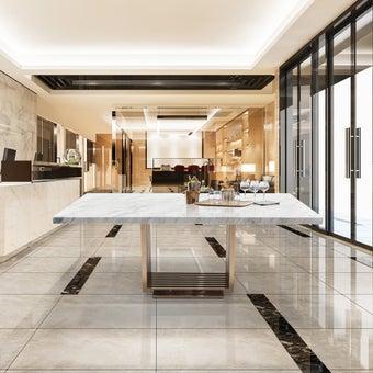 โต๊ะทานอาหาร โต๊ะอาหารขาเหล็กท๊อปหิน รุ่น Chester สีสีขาว-SB Design Square