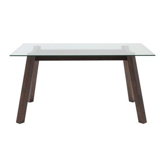 โต๊ะทานอาหาร โต๊ะอาหารขาไม้ท๊อปกระจก รุ่น Ethan-SB Design Square