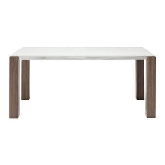 โต๊ะทานอาหาร โต๊ะอาหารขาไม้ท๊อปหิน รุ่น Edward สีสีลายไม้ธรรมชาติ-SB Design Square
