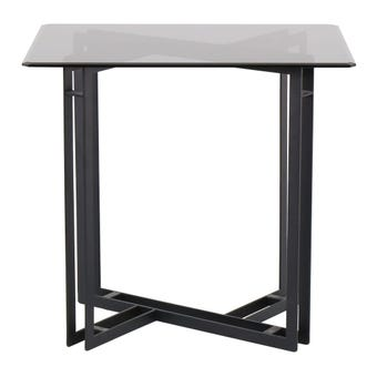 โต๊ะทานอาหาร โต๊ะอาหารขาเหล็กท๊อปกระจก รุ่น Vitolaสีดำ-SB Design Square