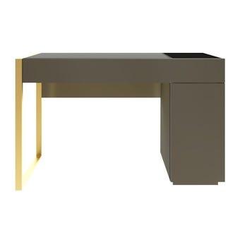 ชุดห้องนอน โต๊ะเครื่องแป้งแบบนั่ง รุ่น Heztiara สีสีเทาเข้ม-SB Design Square