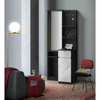 ชุดห้องนอน โต๊ะเครื่องแป้งแบบยืน รุ่น Reiss สีสีเข้มลายไม้ธรรมชาติ-SB Design Square