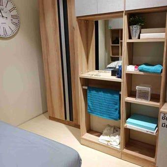 ชุดห้องนอน โต๊ะเครื่องแป้งแบบยืน รุ่น Bricko สีสีโอ๊ค-SB Design Square