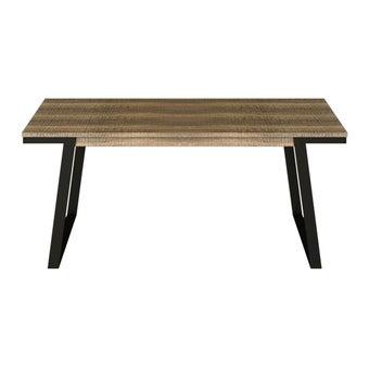 โต๊ะทานอาหาร โต๊ะอาหารขาเหล็กท๊อปไม้ รุ่น Nisey สีสีเข้มลายไม้ธรรมชาติ-SB Design Square