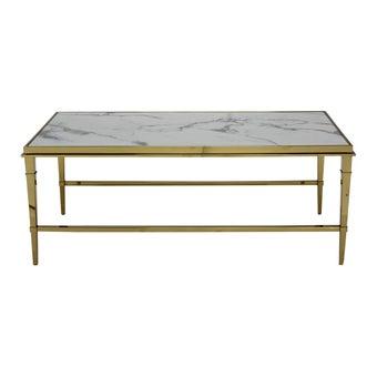 โต๊ะกลาง โต๊ะกลางเหล็กท๊อปหิน รุ่น Tucker สีสีขาว-SB Design Square