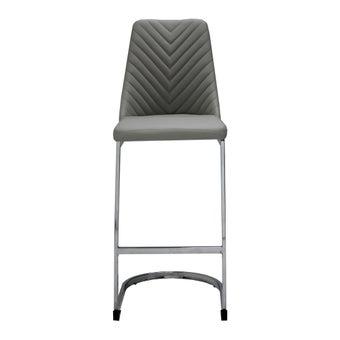 เก้าอี้ทานอาหาร เก้าอี้สตูลบาร์เหล็กเบาะหนัง รุ่น Yuami สีสีเทา-SB Design Square
