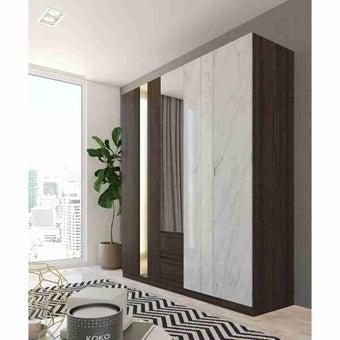 ชุดห้องนอน ตู้เสื้อผ้าบานเปิด รุ่น Reiss สีสีเข้มลายไม้ธรรมชาติ-SB Design Square