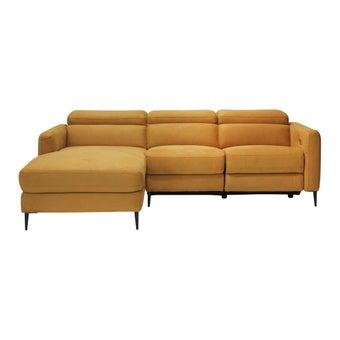 เก้าอี้พักผ่อนผ้า เก้าอี้พักผ่อนปรับระดับไฟฟ้าเข้ามุม รุ่น Lenato สีสีเหลือง-SB Design Square