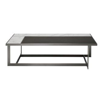 โต๊ะกลาง โต๊ะกลางเหล็กท๊อปหิน รุ่น Lilany สีสีลายไม้ธรรมชาติ-SB Design Square