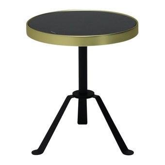 โต๊ะข้าง โต๊ะข้างเหล็กท๊อปกระจก รุ่น Annew สีสีดำ-SB Design Square