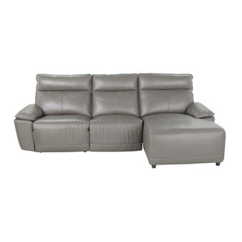 เก้าอี้พักผ่อนหนังแท้เข้ามุมขวา รุ่น Snazzy สีเทา-01