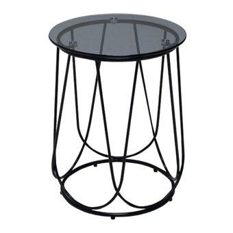 โต๊ะข้าง โต๊ะข้างเหล็กท๊อปกระจก รุ่น Scotch สีสีดำ-SB Design Square