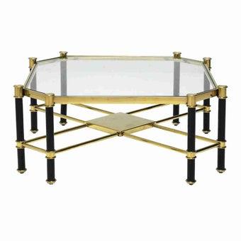 โต๊ะกลาง โต๊ะข้างเหล็กท๊อปกระจก รุ่น Tarada สีสีทอง-SB Design Square