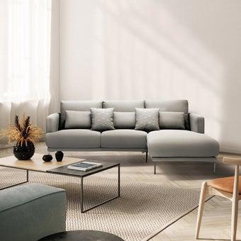 โซฟาผ้า โซฟาเข้ามุมขวา รุ่น Genovo สีสีเทา-SB Design Square