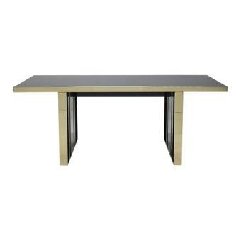 โต๊ะทานอาหาร โต๊ะอาหารขาไม้ท๊อปกระจก รุ่น Chanson สีสีดำ-SB Design Square