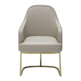 เก้าอี้ทานอาหาร เก้าอี้เหล็กเบาะหนัง รุ่น Cesiaสีครีม-SB Design Square