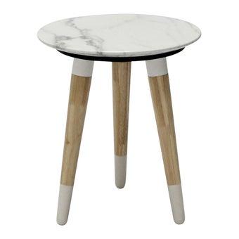 โต๊ะข้าง โต๊ะข้างไม้ท๊อปหิน รุ่น Racco สีสีขาว-SB Design Square