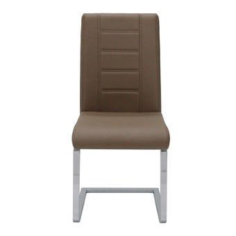 เก้าอี้ทานอาหาร เก้าอี้เหล็กเบาะหนัง รุ่น Reya สีสีน้ำตาล-SB Design Square