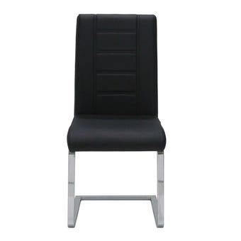 เก้าอี้ทานอาหาร เก้าอี้เหล็กเบาะหนัง รุ่น Reya สีสีดำ-SB Design Square